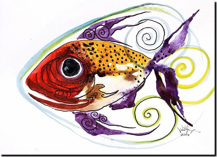 WTFish   Modern Abstract Fish Art Artwork Paintings J Vincent Scarpace