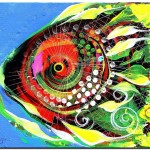 Abstract Fluorescent Grouper  Modern Abstract Fish Art Artwork Paintings J Vincent Scarpace