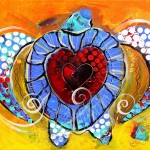 Abstract Sea Turtle and Love   Modern Abstract Fish Art Artwork Paintings J Vincent Scarpace