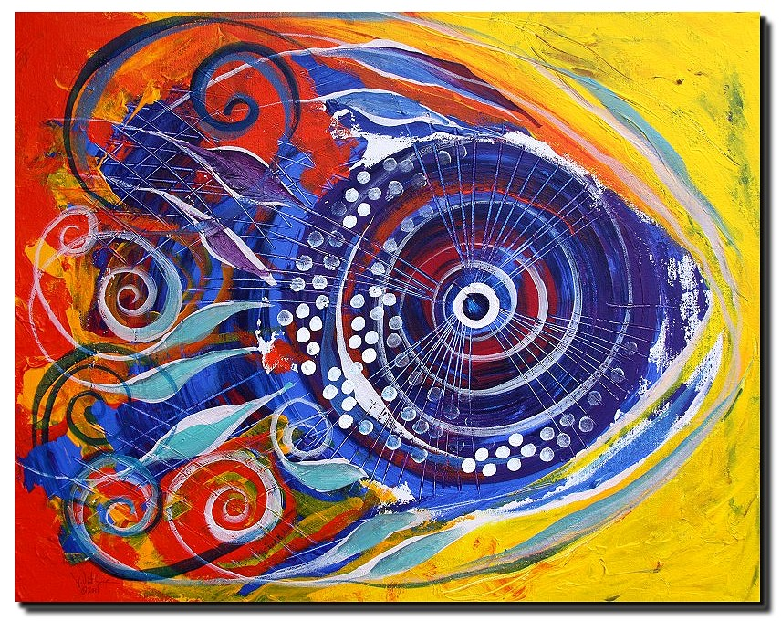 Colorful Clown Fish  Modern Abstract Fish Art Artwork Paintings J Vincent Scarpace