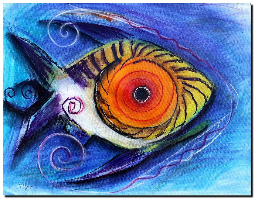 Fish in Pastel   Modern Abstract Fish Art Artwork Paintings J Vincent Scarpace