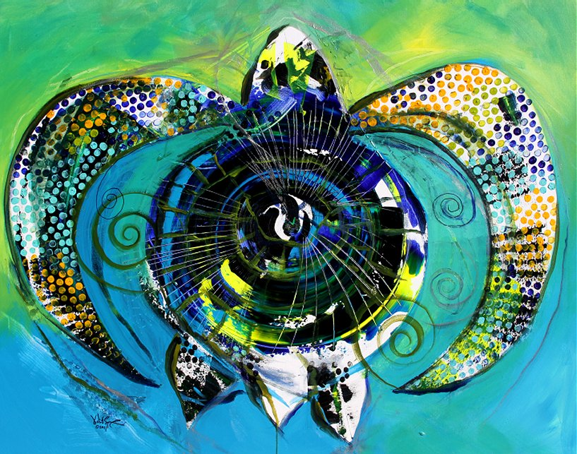 Sea Teal  Modern Abstract Fish Art Artwork Paintings J Vincent Scarpace