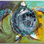 Sea Turtle Abstract Solo and Sea  Modern Abstract Fish Art Artwork Paintings J Vincent Scarpace