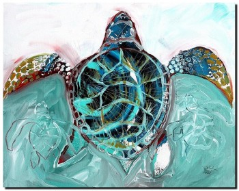 Sea Turtle   Modern Abstract Fish Art Artwork Paintings J Vincent Scarpace