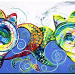 Together Two Love and Three  Modern Abstract Fish Art Artwork Paintings J Vincent Scarpace