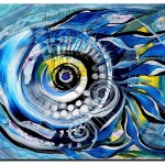 Abstract Blue Dauphin  Modern Abstract Fish Art Artwork Paintings J Vincent Scarpace