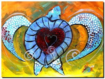 Abstract Sea Turtle and Love Again  Modern Abstract Fish Art Artwork Paintings J Vincent Scarpace