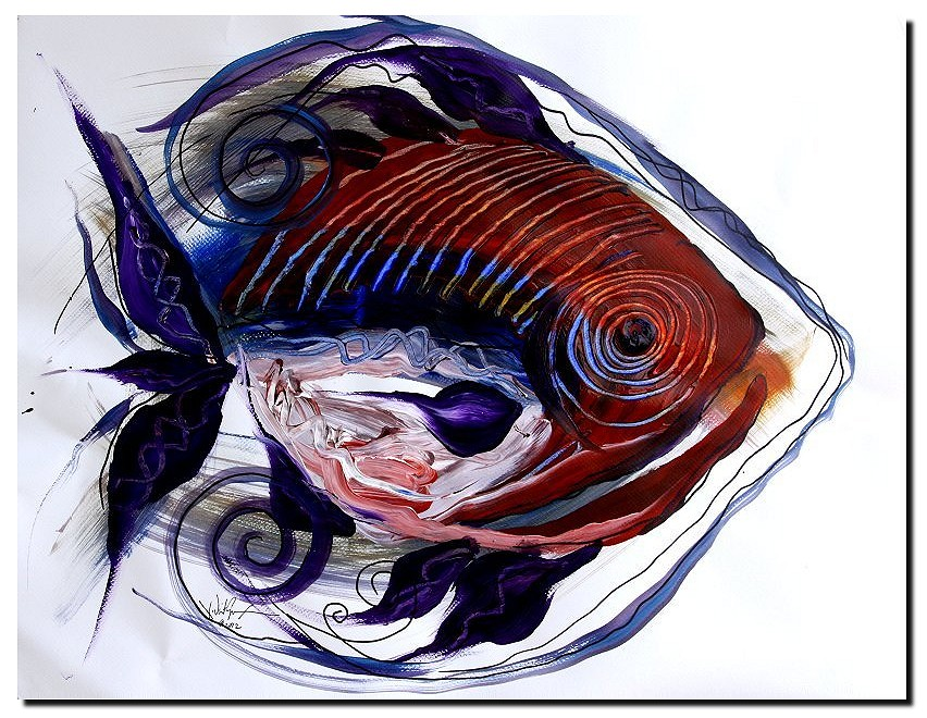 Abstract Tongue Fish  Modern Abstract Fish Art Artwork Paintings J Vincent Scarpace