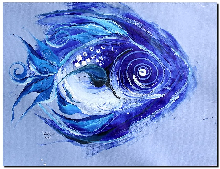 Blue Fish Six  Modern Abstract Fish Art Artwork Paintings J Vincent Scarpace