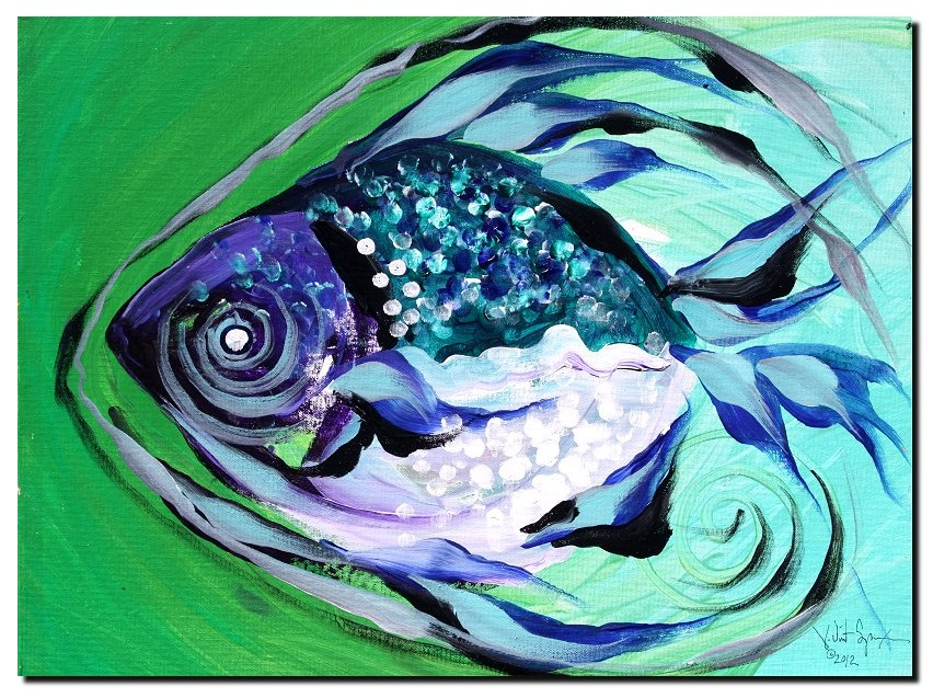 Earth and Sky Fish  Modern Abstract Fish Art Artwork Paintings J Vincent Scarpace