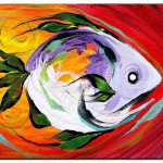 Fire Fish White  Modern Abstract Fish Art Artwork Paintings J Vincent Scarpace