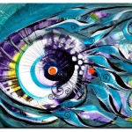 Happy Fish and Teal  Modern Abstract Fish Art Artwork Paintings J Vincent Scarpace