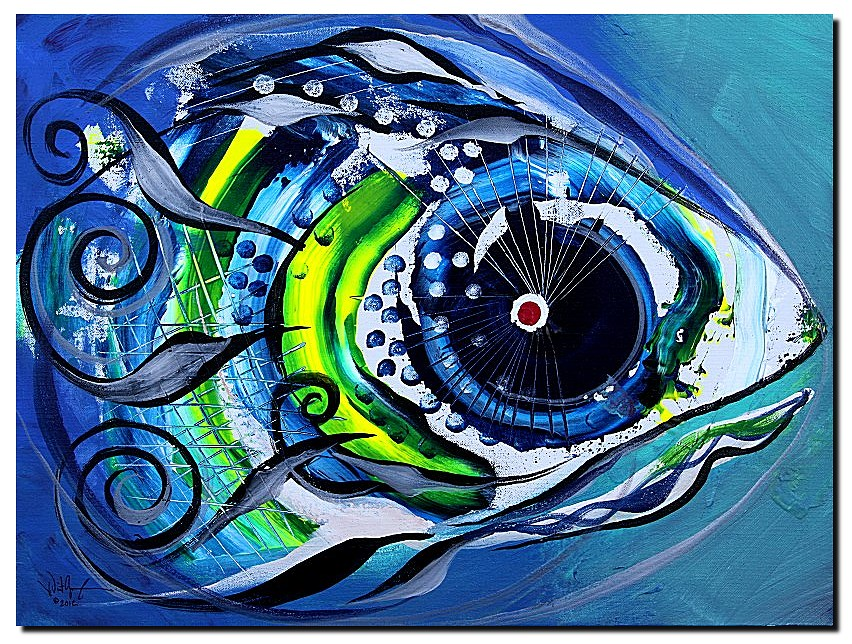 Ice Fish Timid  Modern Abstract Fish Art Artwork Paintings J Vincent Scarpace