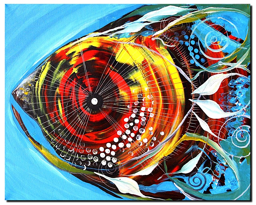 Lovely Lady Fish   Modern Abstract Fish Art Artwork Paintings J Vincent Scarpace