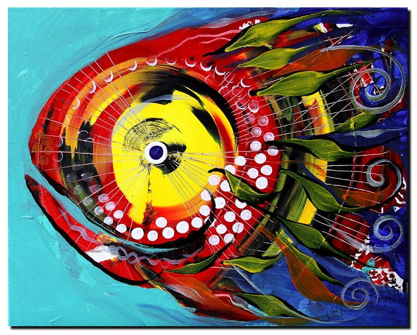 Fire Fish on Blue  Modern Abstract Fish Art Artwork Paintings J Vincent Scarpace