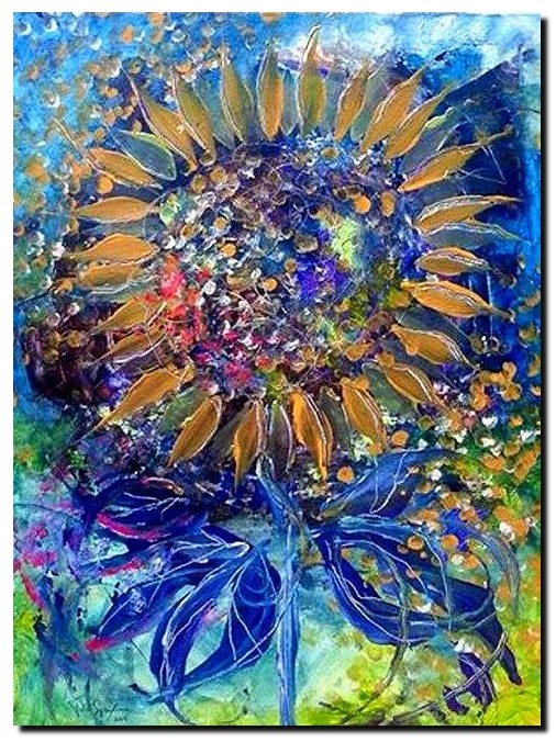Girasole e Sofferenza Sunflower and Suffering  Modern Abstract Fish Art Artwork Paintings J Vincent Scarpace