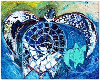 Momma and Matisse  Modern Abstract Fish Art Artwork Paintings J Vincent Scarpace