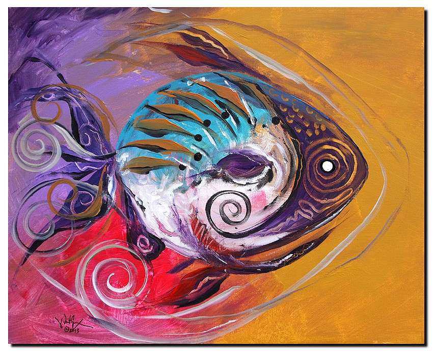 Scribbled Smile Fish  Modern Abstract Fish Art Artwork Paintings J Vincent Scarpace