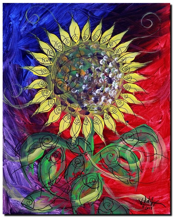 Sunflower Study  Modern Abstract Fish Art Artwork Paintings J Vincent Scarpace
