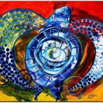 Sun Turtle  Sun Love  Modern Abstract Fish Art Artwork Paintings J Vincent Scarpace