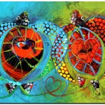 Two Hearts and Love  Modern Abstract Fish Art Artwork Paintings J Vincent Scarpace