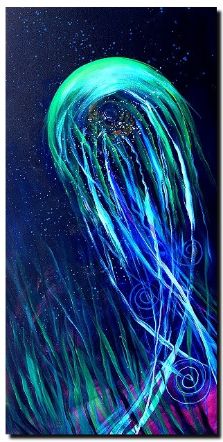 Abstract Jellyfish   Modern Abstract Fish Art Artwork Paintings J Vincent Scarpace
