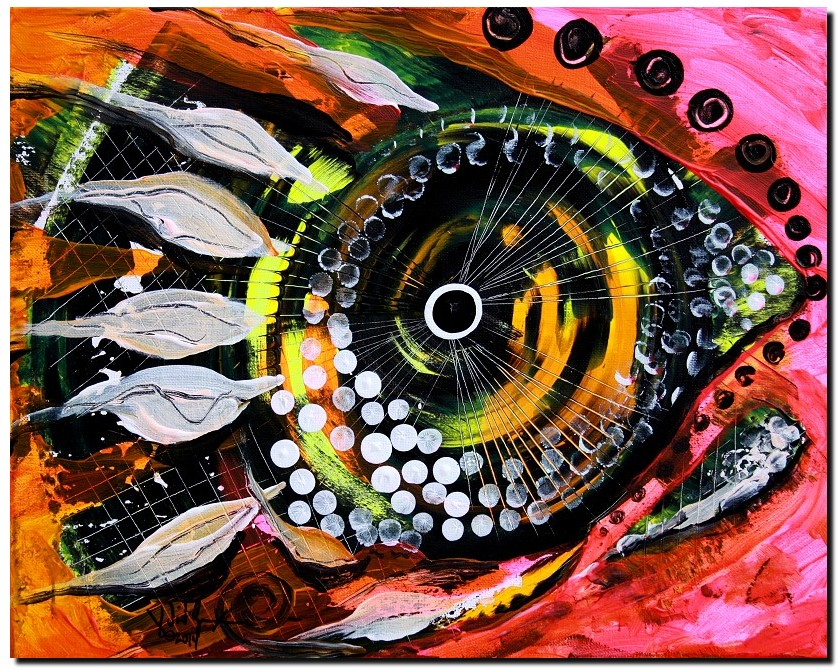 Black Bubble Spew  Modern Abstract Fish Art Artwork Paintings J Vincent Scarpace