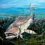 Redfish Chase and Tail  Modern Abstract Fish Art Artwork Paintings J Vincent Scarpace