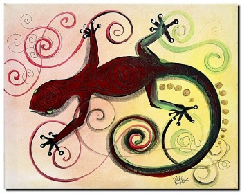 Christmas Gecko with Gold Poop  Modern Abstract Fish Art Artwork Paintings J Vincent Scarpace