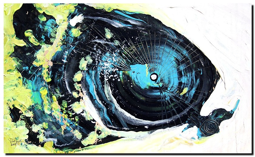 Contrast in Hunger  Modern Abstract Fish Art Artwork Paintings J Vincent Scarpace