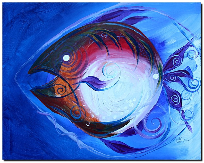 Lady Fish Two  Modern Abstract Fish Art Artwork Paintings J Vincent Scarpace