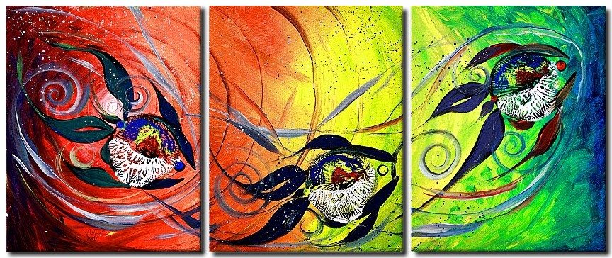 Moon Spectrum   Modern Abstract Fish Art Artwork Paintings J Vincent Scarpace