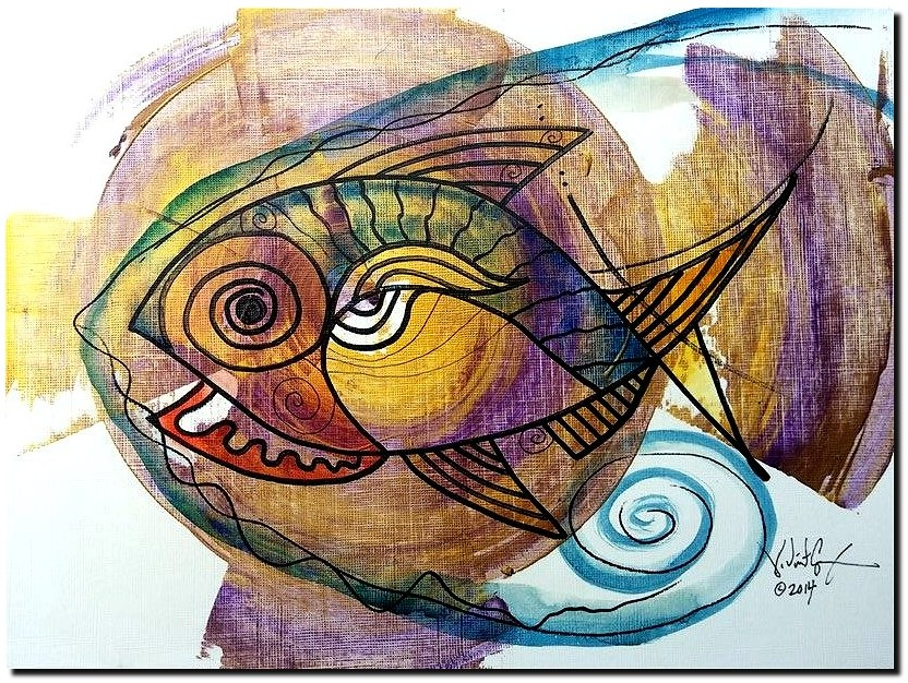 Organic Ichthus  Modern Abstract Fish Art Artwork Paintings J Vincent Scarpace