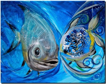 Permit Two Ways  Modern Abstract Fish Art Artwork Paintings J Vincent Scarpace