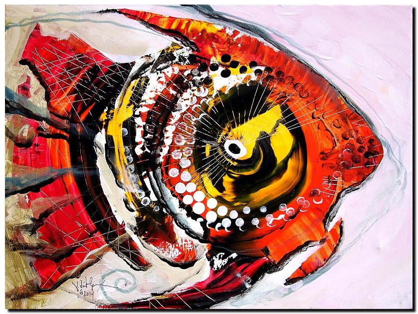 Retrospective Diablo  Modern Abstract Fish Art Artwork Paintings J Vincent Scarpace