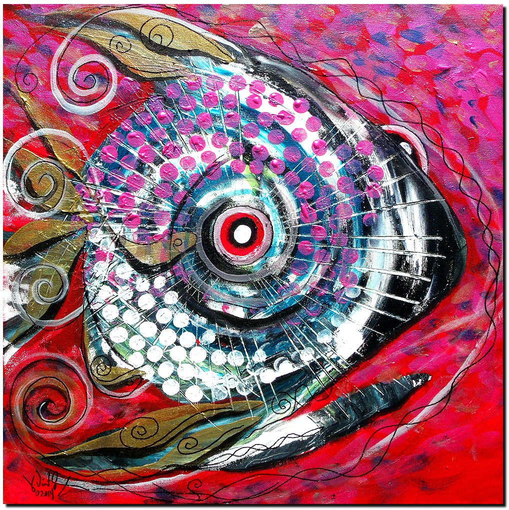 Santeria She  Modern Abstract Fish Art Artwork Paintings J Vincent Scarpace