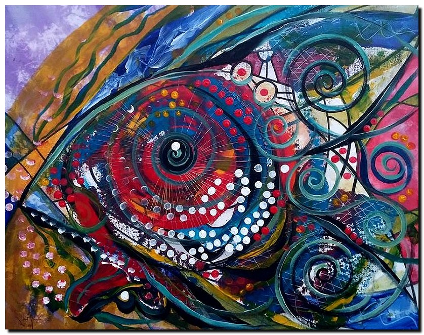 Technology and Fixh  Modern Abstract Fish Art Artwork Paintings J Vincent Scarpace