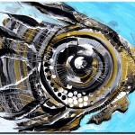 Thoughtful Silver and Gold on Blue  Modern Abstract Fish Art Artwork Paintings J Vincent Scarpace