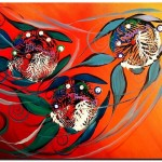 Three Comps into the Sun  Modern Abstract Fish Art Artwork Paintings J Vincent Scarpace