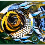 White Headed Mouth Fish  Modern Abstract Fish Art Artwork Paintings J Vincent Scarpace