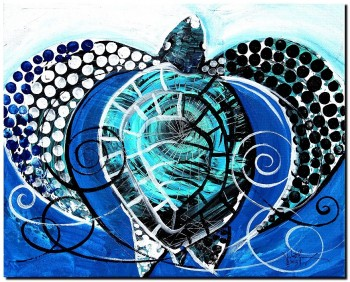 Sea Turtle in Blue and White  Modern Abstract Fish Art Artwork Paintings J Vincent Scarpace