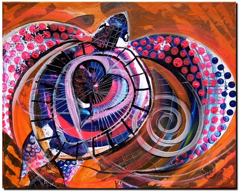 Sea Turtle Love Orange  Modern Abstract Fish Art Artwork Paintings J Vincent Scarpace