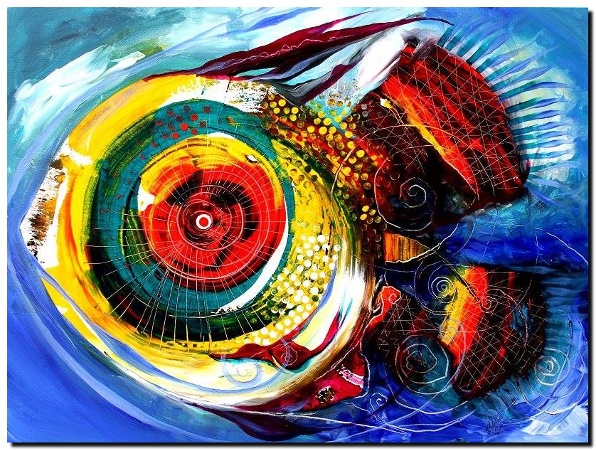 Abstract Chroma Fish  Modern Abstract Fish Art Artwork Paintings J Vincent Scarpace