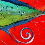 Abstract Mahi Mahi  Modern Abstract Fish Art Artwork Paintings J Vincent Scarpace