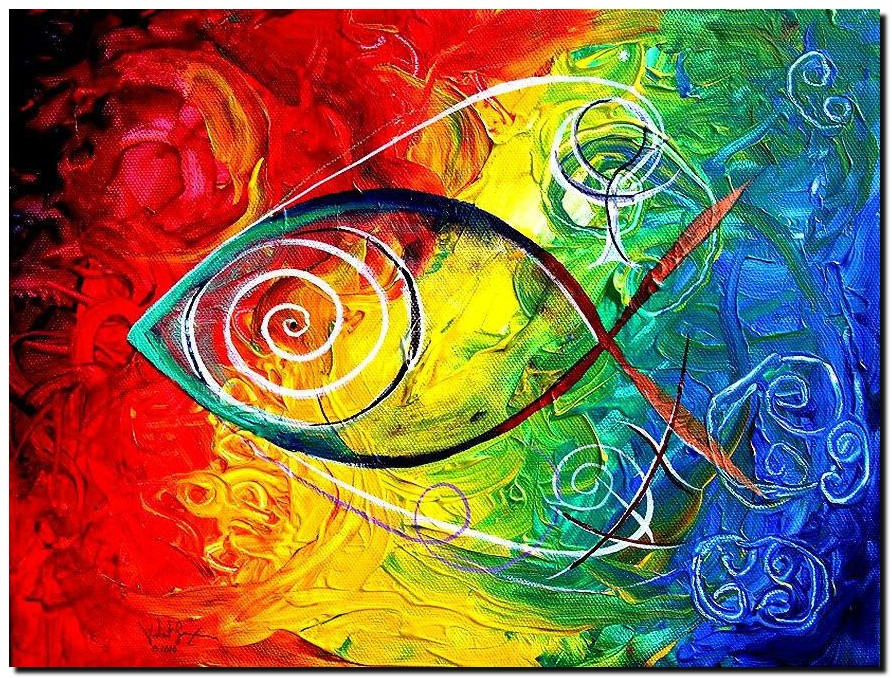 Accept Me Except Me  Modern Abstract Fish Art Artwork Paintings J Vincent Scarpace