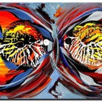 A Nice Pair  Modern Abstract Fish Art Artwork Paintings J Vincent Scarpace