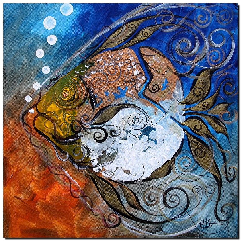 Broke Baroque Imposter Fish  Modern Abstract Fish Art Artwork Paintings J Vincent Scarpace