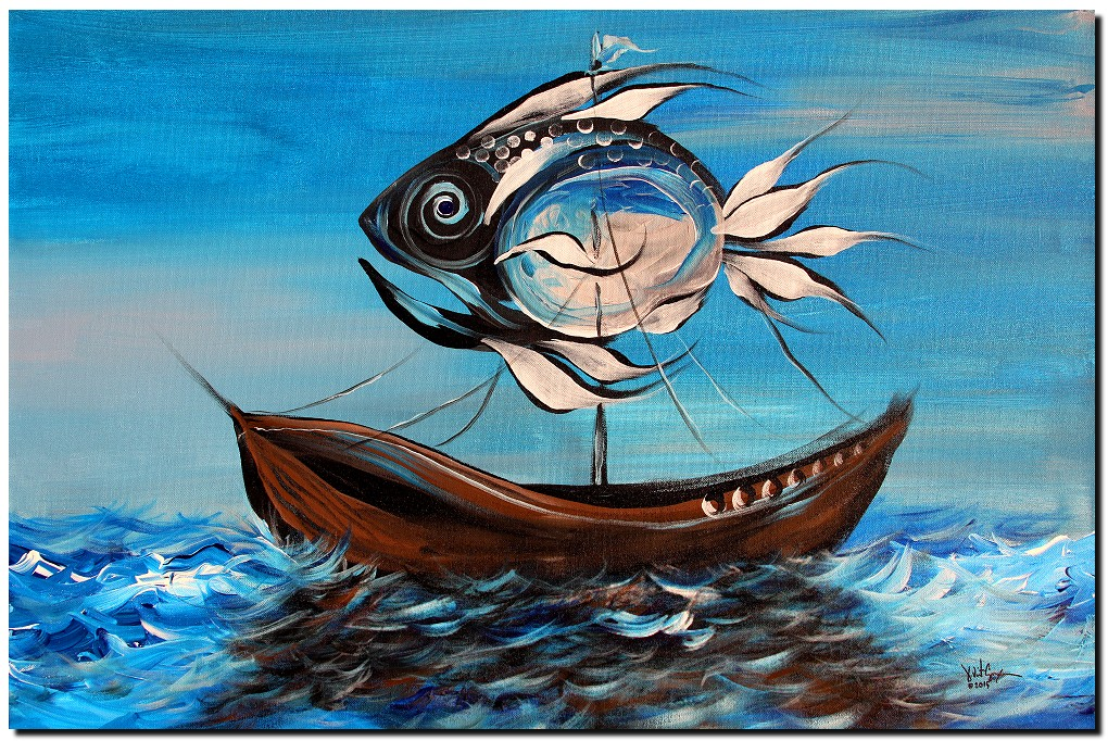 Dont Think Sail Fish  Modern Abstract Fish Art Artwork Paintings J Vincent Scarpace