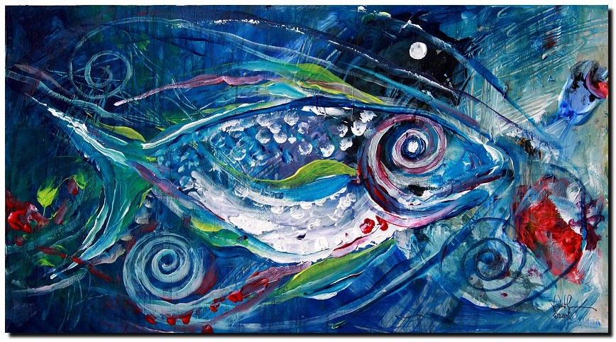 Face Your Chaos  Modern Abstract Fish Art Artwork Paintings J Vincent Scarpace