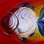 Fuoco Pesce  Modern Abstract Fish Art Artwork Paintings J Vincent Scarpace
